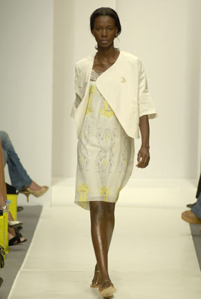 Cream cotton pocket detail jacket and Lemon yellow silk girl print metal neckline dress