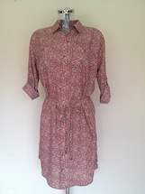 dot flower print shirt dress
