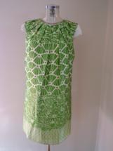 lime green print dress