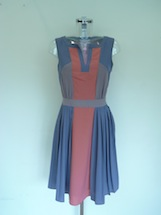 three colour block side pleat dress