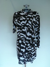 linen abstract zebra print shirt dress