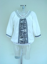 smocked neck and hem embroidered cotton top