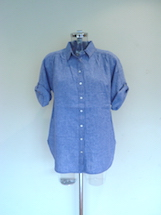 denim short sleeve oversized shirt