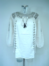 embroidered sleeve/neckline/front top